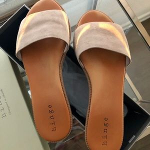 Hinge Women's Suede Slip-on Sandals - Size 7.5M